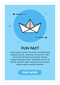 Origami Boat Web Banner Illustration with Icon.