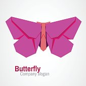 Abstract butterfly origami logo design. Can be used for corporate identity, application icon, beauty salon logotype.