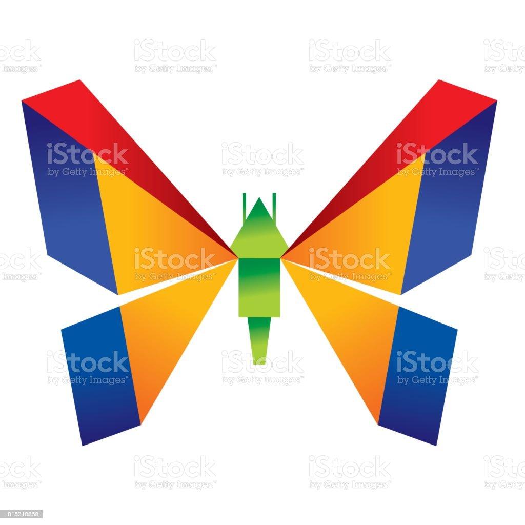 Origami butterfly vector art illustration