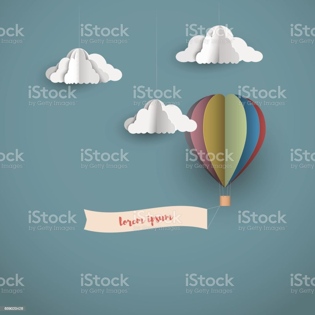 Origami clouds and hot air balloon with banner stock vector art origami clouds and hot air balloon with banner royalty free stock vector art jeuxipadfo Choice Image