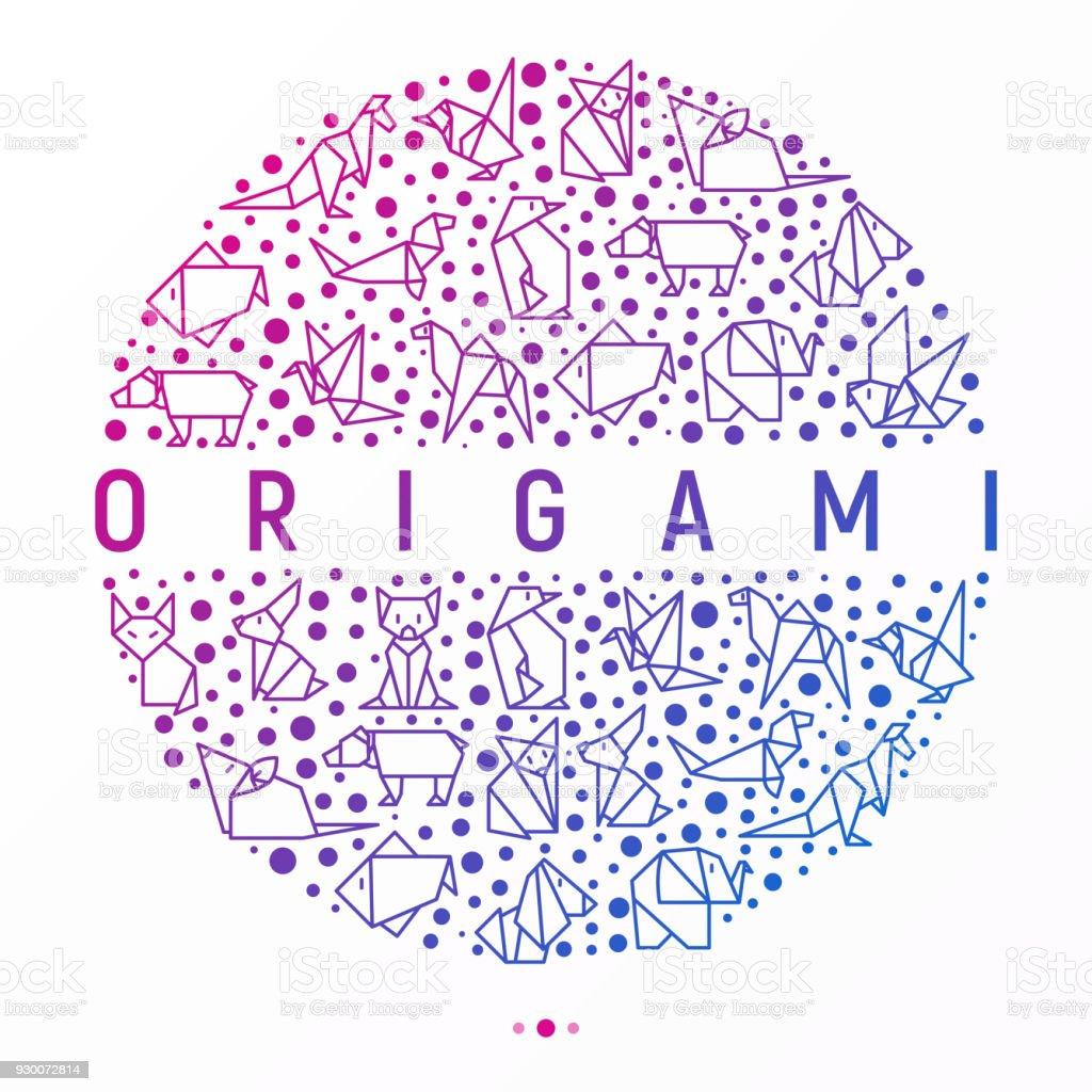 Ilustración de Concepto De Origami En Círculo Con Los Iconos De La ...