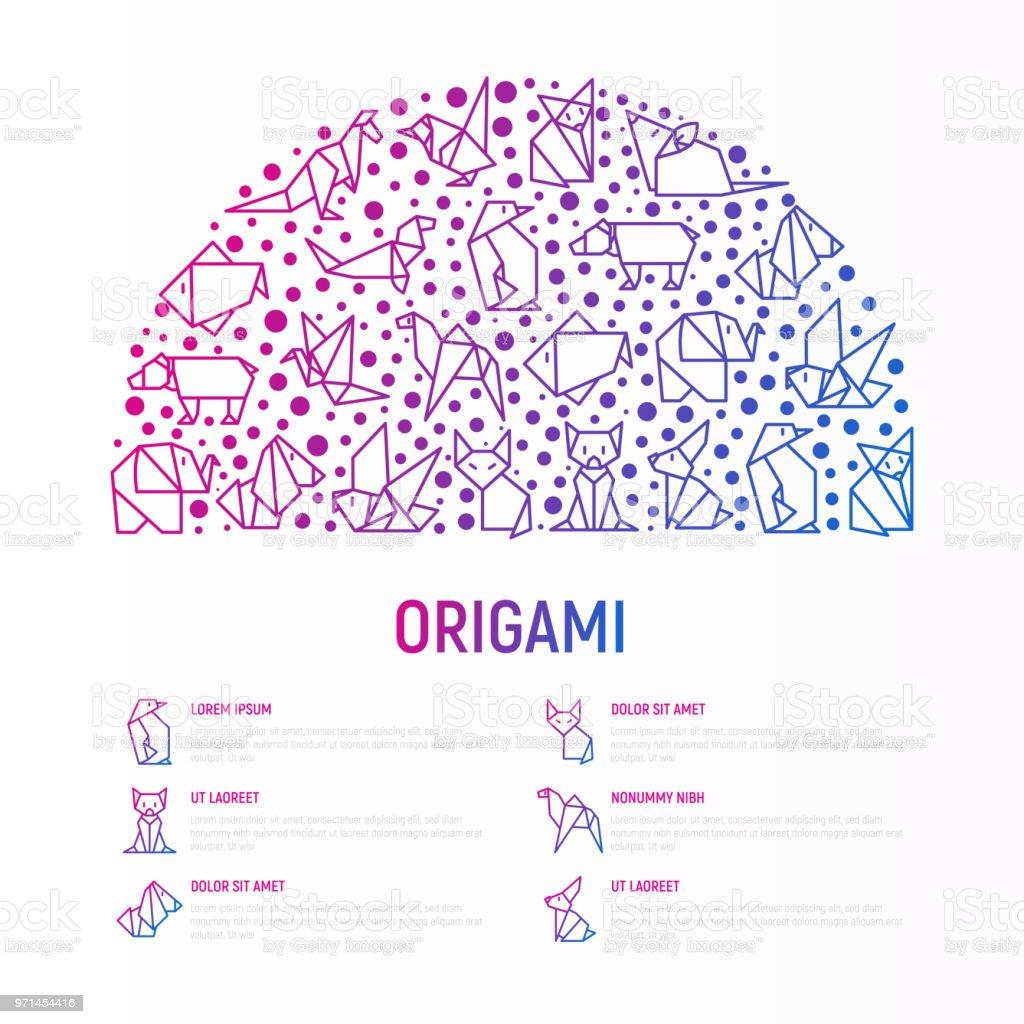 Ilustración de Concepto De Origami En Medio Círculo Con Los Iconos ...