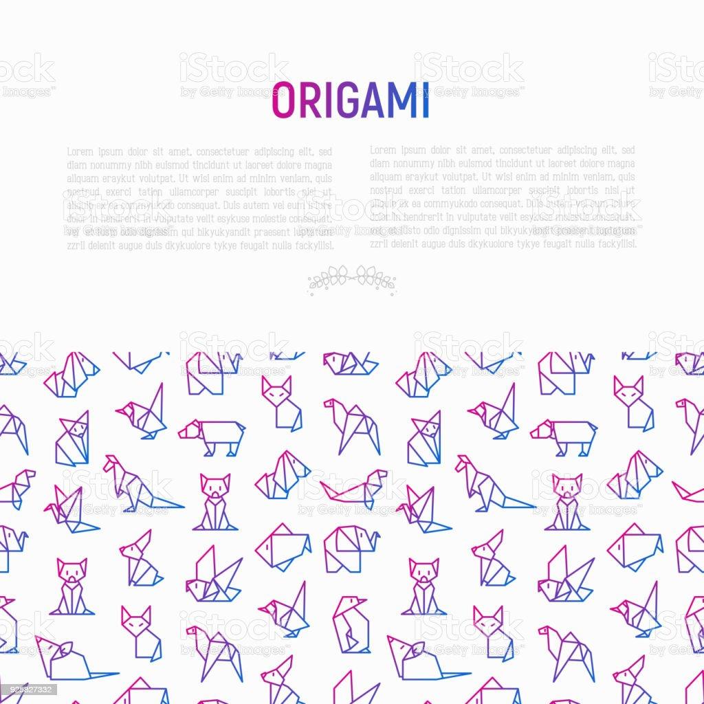 Ilustración de Concepto De Origami Con Los Iconos De La Delgada ...
