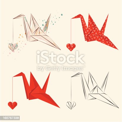 Origami crane with heart