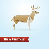 Origami deer, Christmas greeting card, vector illustration, eps10
