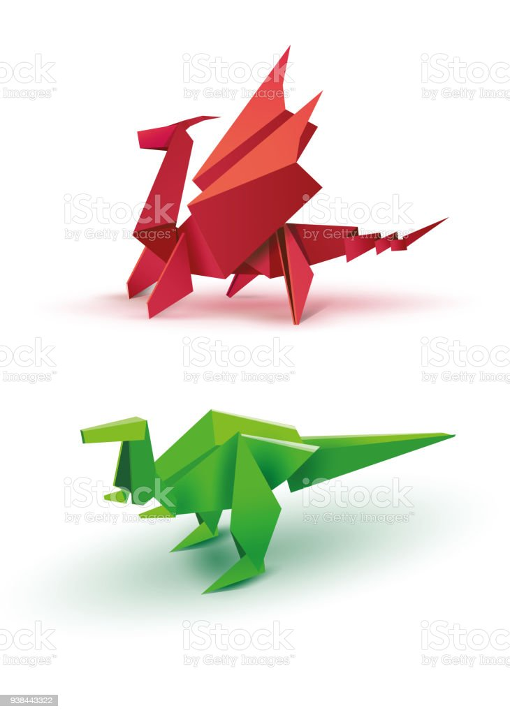 Origami Dragon And Dinosaur Stock Vector Art More Images Of