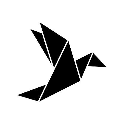 Origami Flying Bird Sign Symbol Icon. Origami bird. Origami birds vector pack. Origami birds vector.