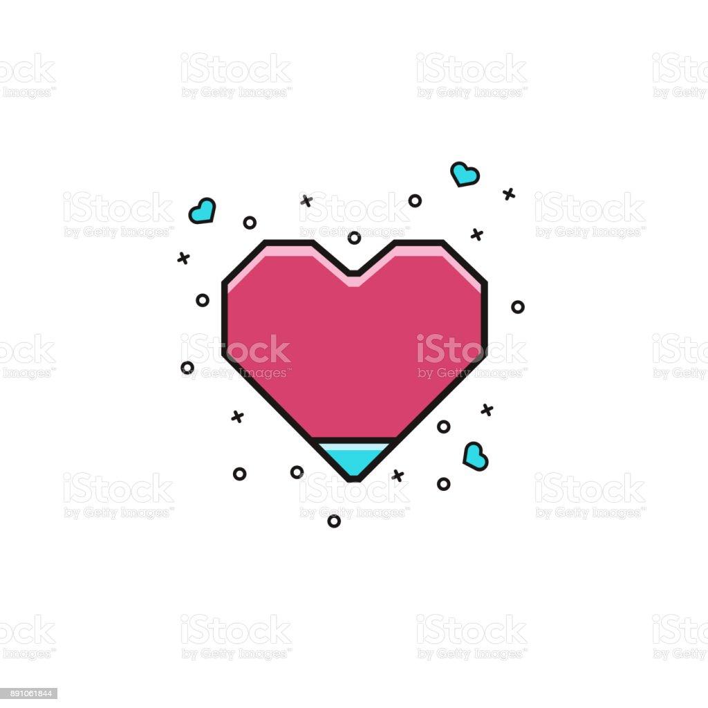 Ilustración De Icono De Planos Línea Color Geométricos Corazón