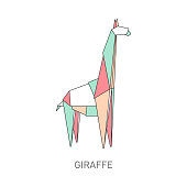 Origami giraffe from colorful folded paper, cartoon animal line art with creative geometric shapes in polygon graphic style, isolated flat vector illustration on white background