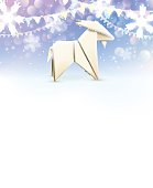 Origami Goat, New Year background. Vector illustration, eps10.