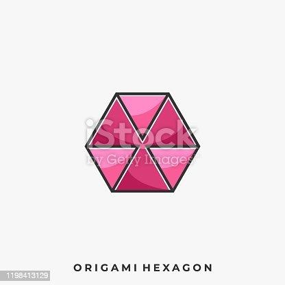 istock Origami Hexagon Illustration Vector Template 1198413129