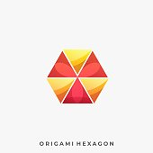 Origami Hexagon Illustration Vector Template. Suitable for Creative Industry, Multimedia, entertainment, Educations, Shop, and any related business.