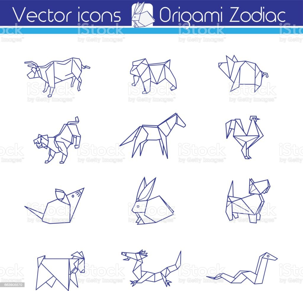 Origami horoscope line vector icons stock vector art more images origami horoscope line vector icons royalty free origami horoscope line vector icons stock jeuxipadfo Images