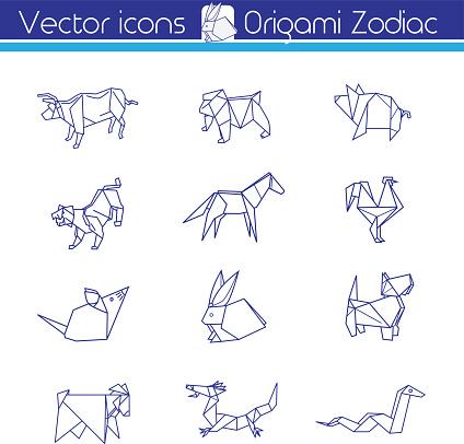 Origami horoscope, Line vector icons.