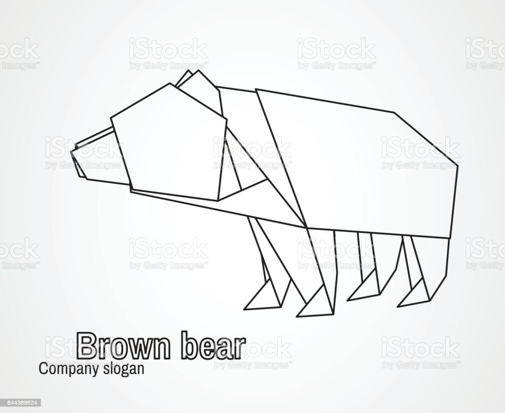 Origami Icon Contour Bear Stock Illustration - Download ... on