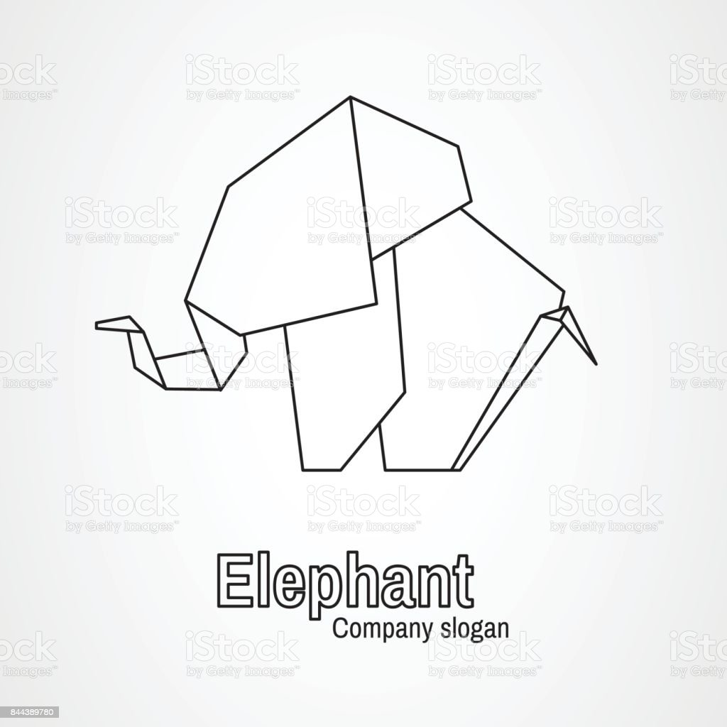 Origami icon contour elephant vector art illustration