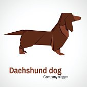Vector simple illustration paper origami of dachshund.