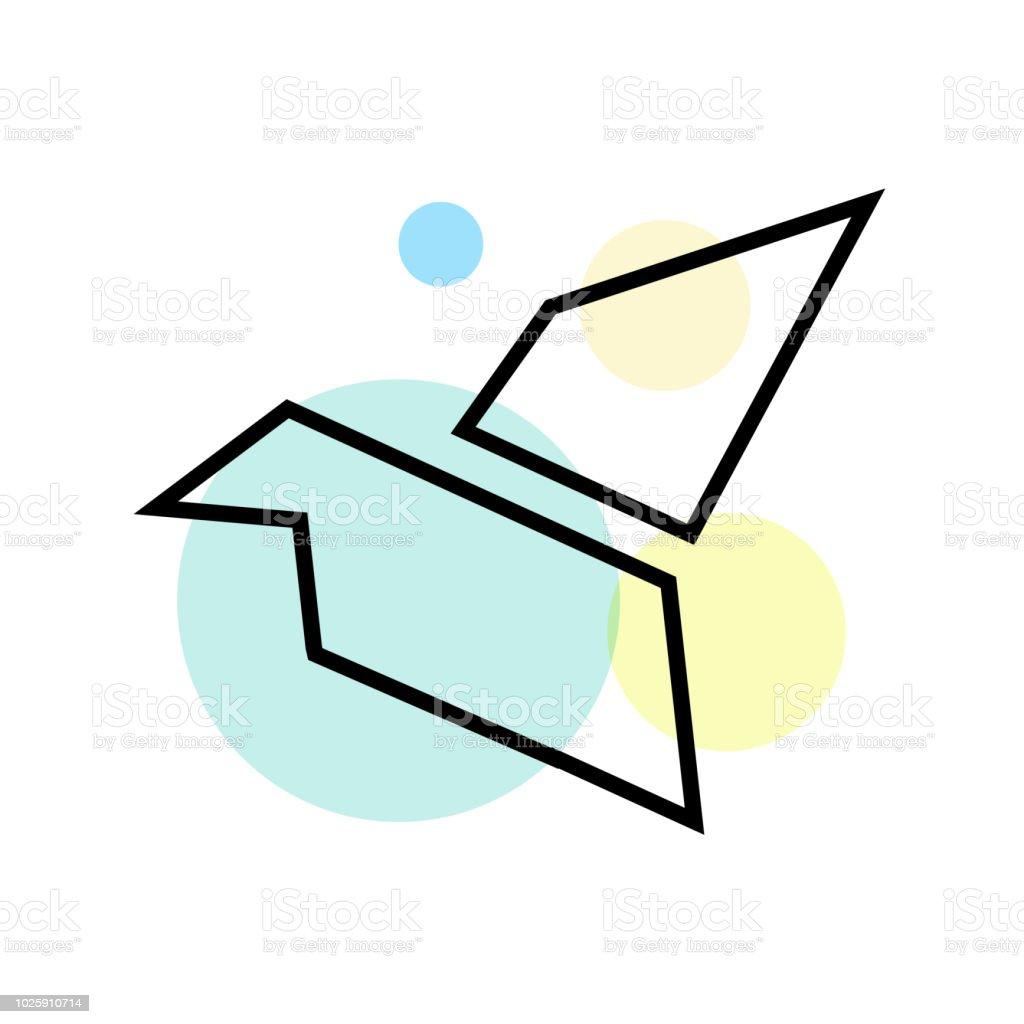 Origami Icône Vector Signe Et Le Symbole Isolé Sur Fond Blanc