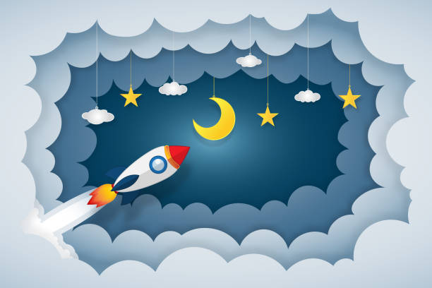 origami layer cloudscape of rocket launch flying, half moon, clouds and stars in the night as paper art and craft style concept. vector illustrator. - abstract of paper spaceship launch to space stock illustrations, clip art, cartoons, & icons