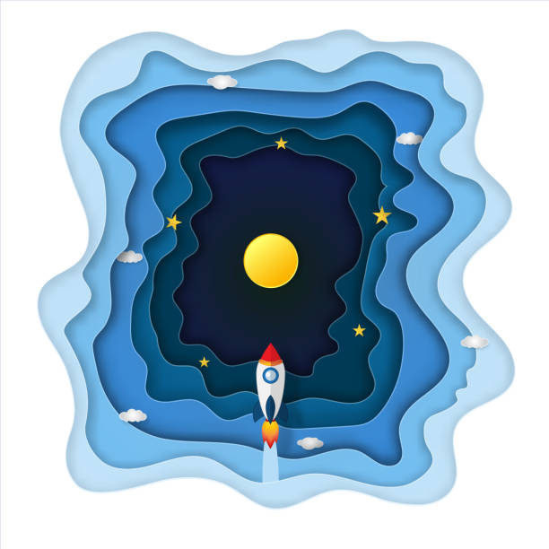 origami layer skyscape of rocket launch flying, full moon and clouds in the dark night as paper art, craft style, travel and start up concept. vector illustrator. - abstract of paper spaceship launch to space stock illustrations, clip art, cartoons, & icons