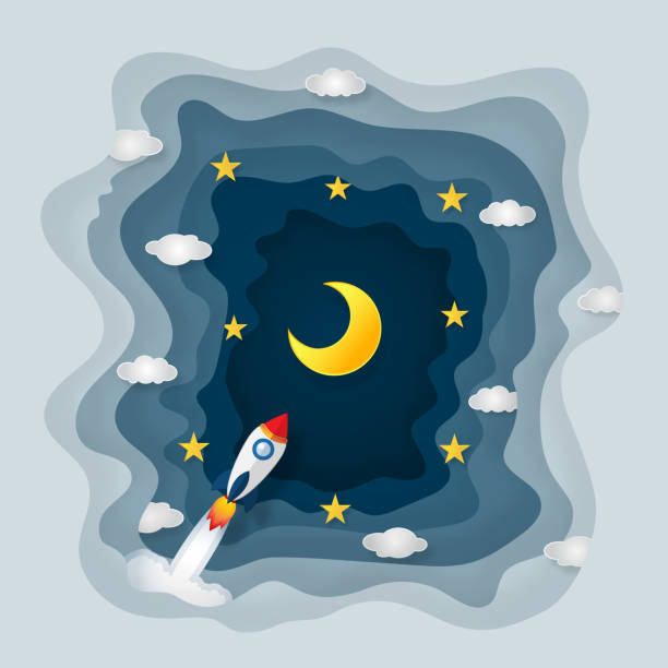 origami layer skyscape of rocket launch, half moon, clouds and stars in the night as paper art and craft style concept. vector illustrator. - abstract of paper spaceship launch to space stock illustrations, clip art, cartoons, & icons
