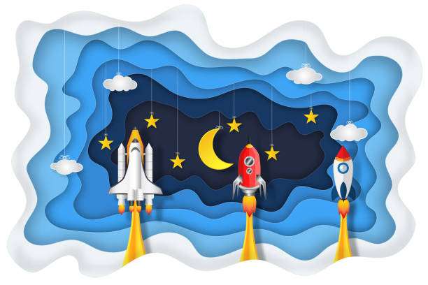 origami layer skyscape of rockets launch , half moon, stars and clouds in the night as paper art, craft style and start up concept. vector illustrator. - abstract of paper spaceship launch to space stock illustrations, clip art, cartoons, & icons