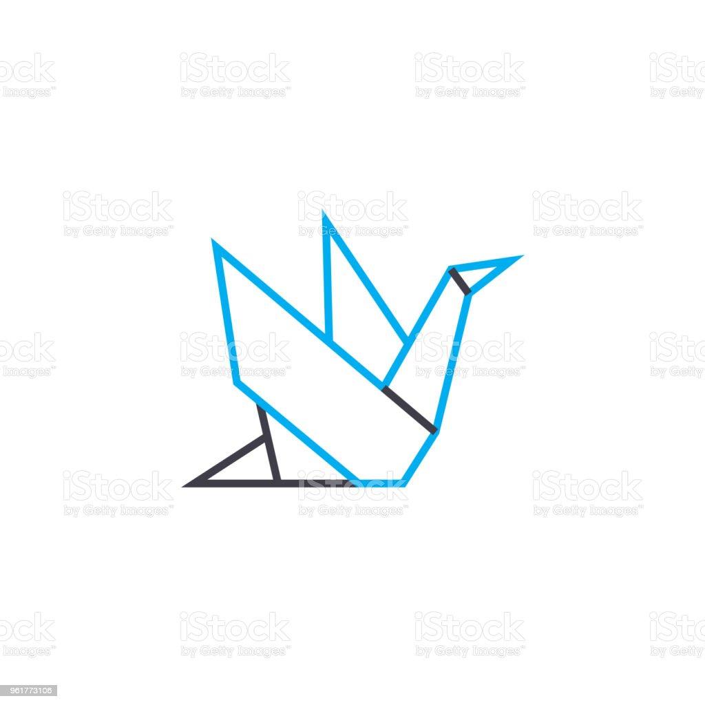 Notion Dicône Linéaire Origami Origami Ligne Vecteur Signe Symbole