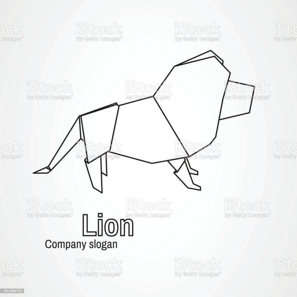 Origami Logo Contour Lion Royalty Free Stock Vector Art Amp
