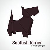 Origami logo Scottish Terrier dog