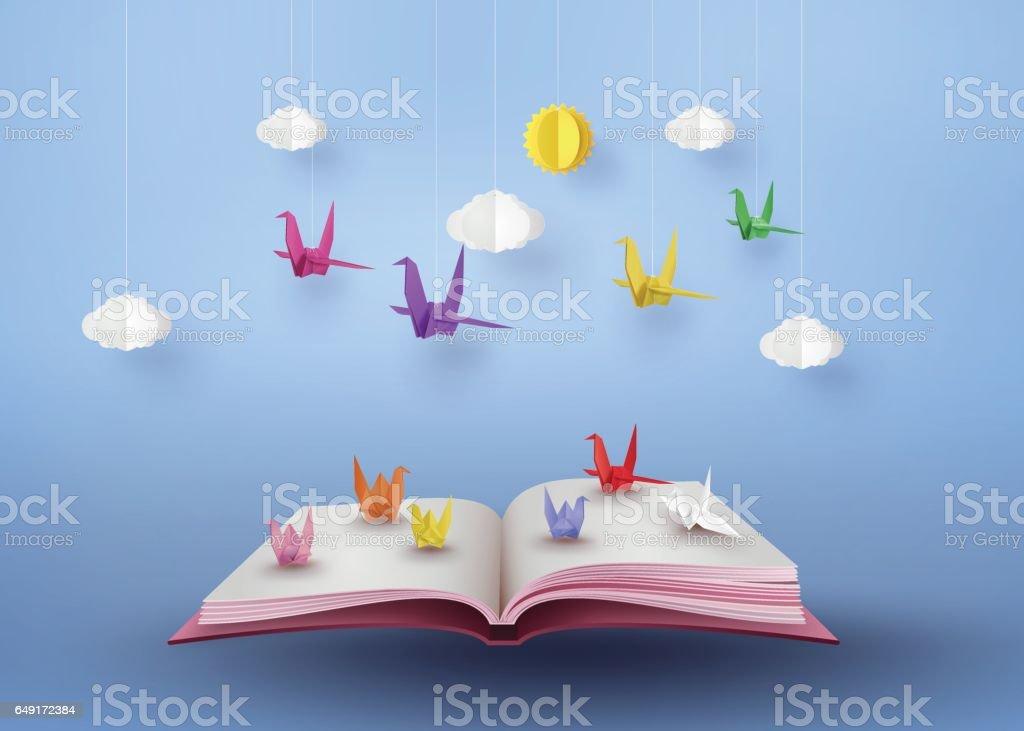 Ilustración de Origami Hecho Pájaro De Papel De Colores Volando ...