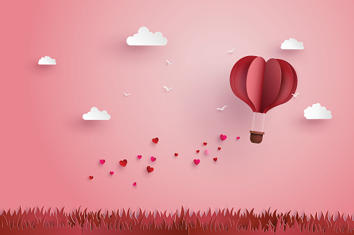Origami made hot air balloon and cloud clipart