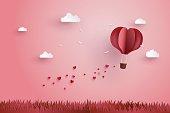 折り紙た熱気球、クラウド