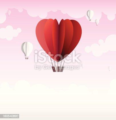 Origami Made Hot Air Balloon In A Heart Shape Stock Vector Art