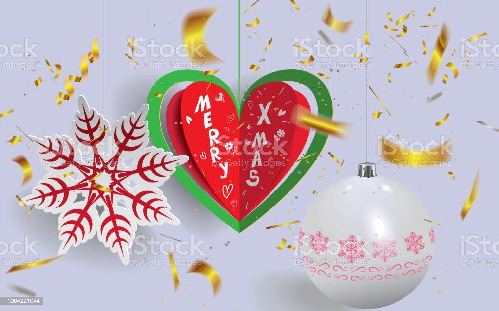 Frohe Weihnachten Herz.Origami In Herz Form Papier Kunststil Mit Text Frohe Weihnachten Weihnachtskugel Und Schneeflocke Mit Bokeh Goldene Konfetti Herum Gemacht Stock