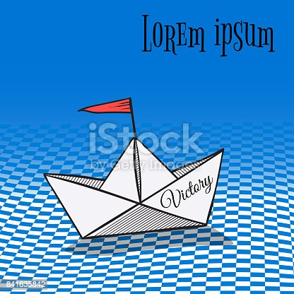 origami made colorful sailing boat. paper vector art style.