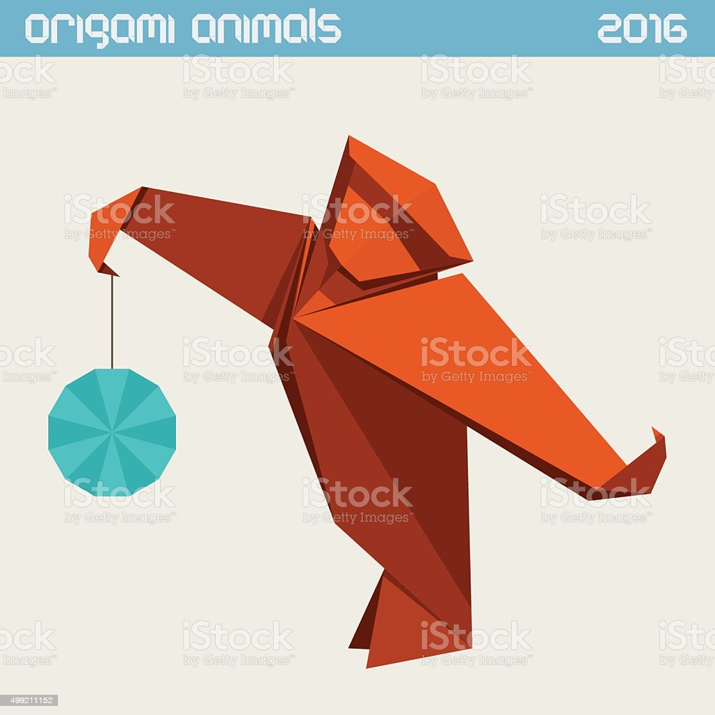 折り紙モンキーます。シンプルなフラットのベクトルイラスト。年 2016 年 ベクターアートイラスト