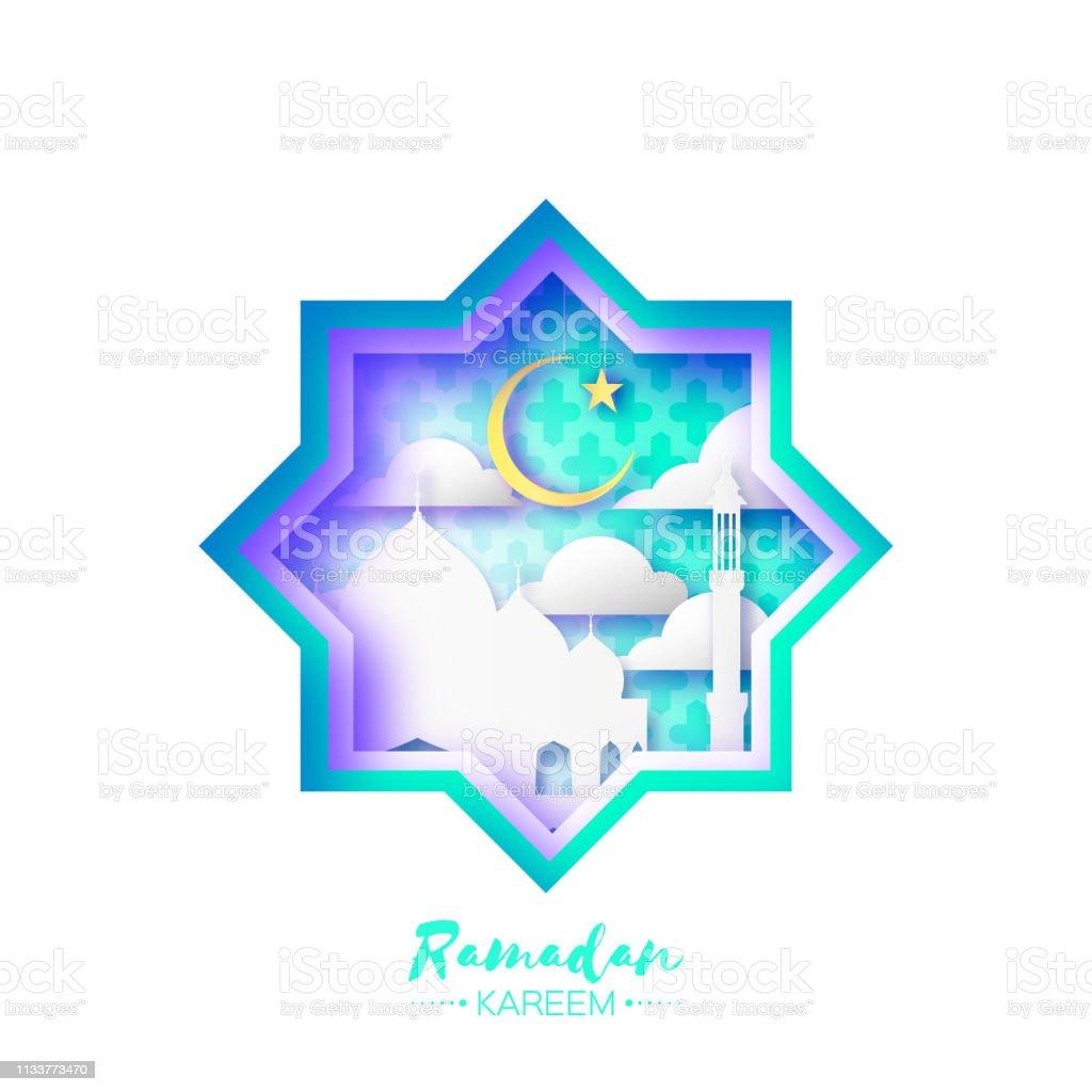 Origami Mosque Star Window Ramadan Kareem Greeting card with arabic arabesque pattern. vector art illustration