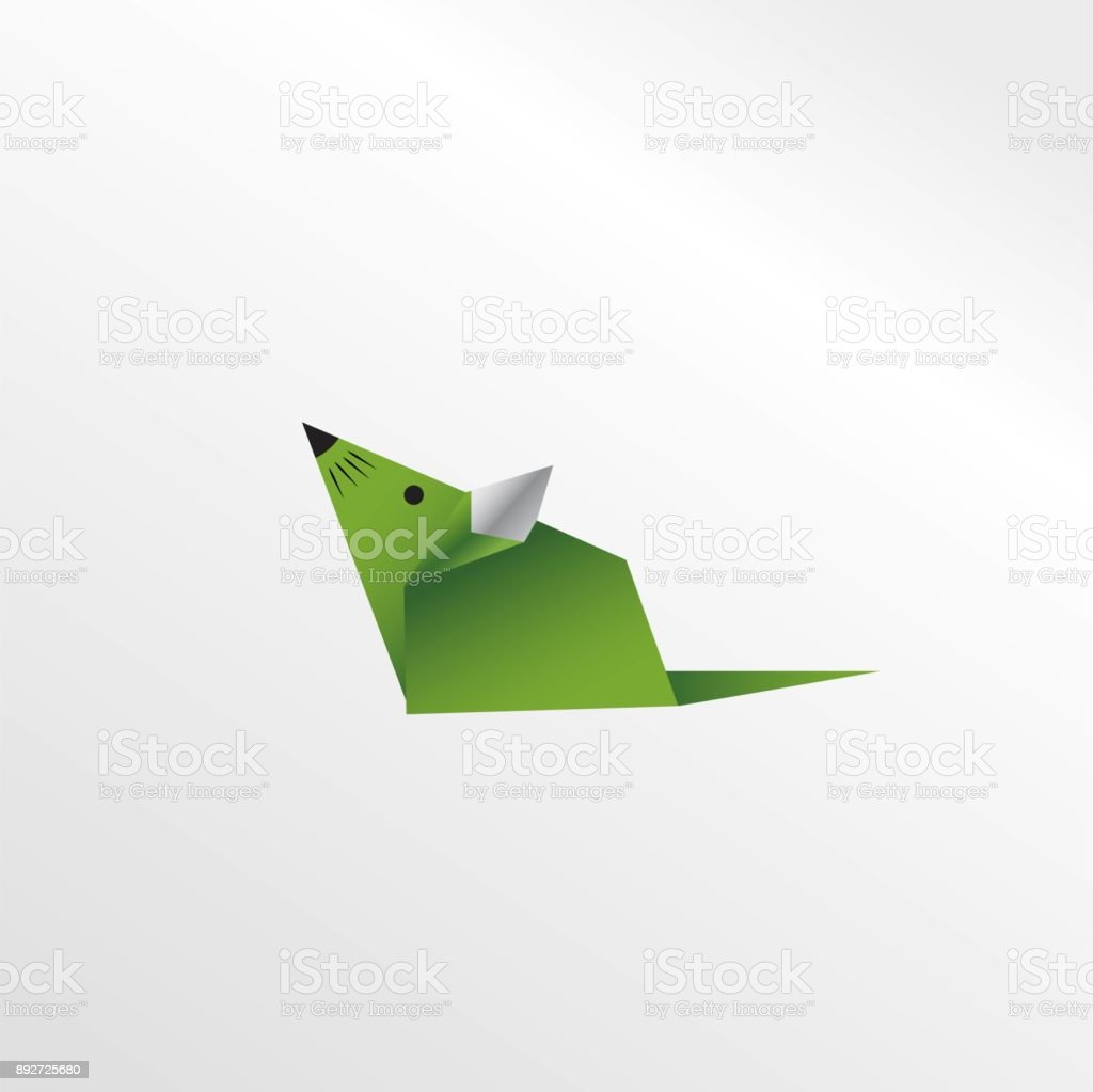 Origami Mouse Stock Vector Art More Images Of Abstract 892725680