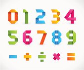Set of Numbers in Origami Style - Vector Illustration.