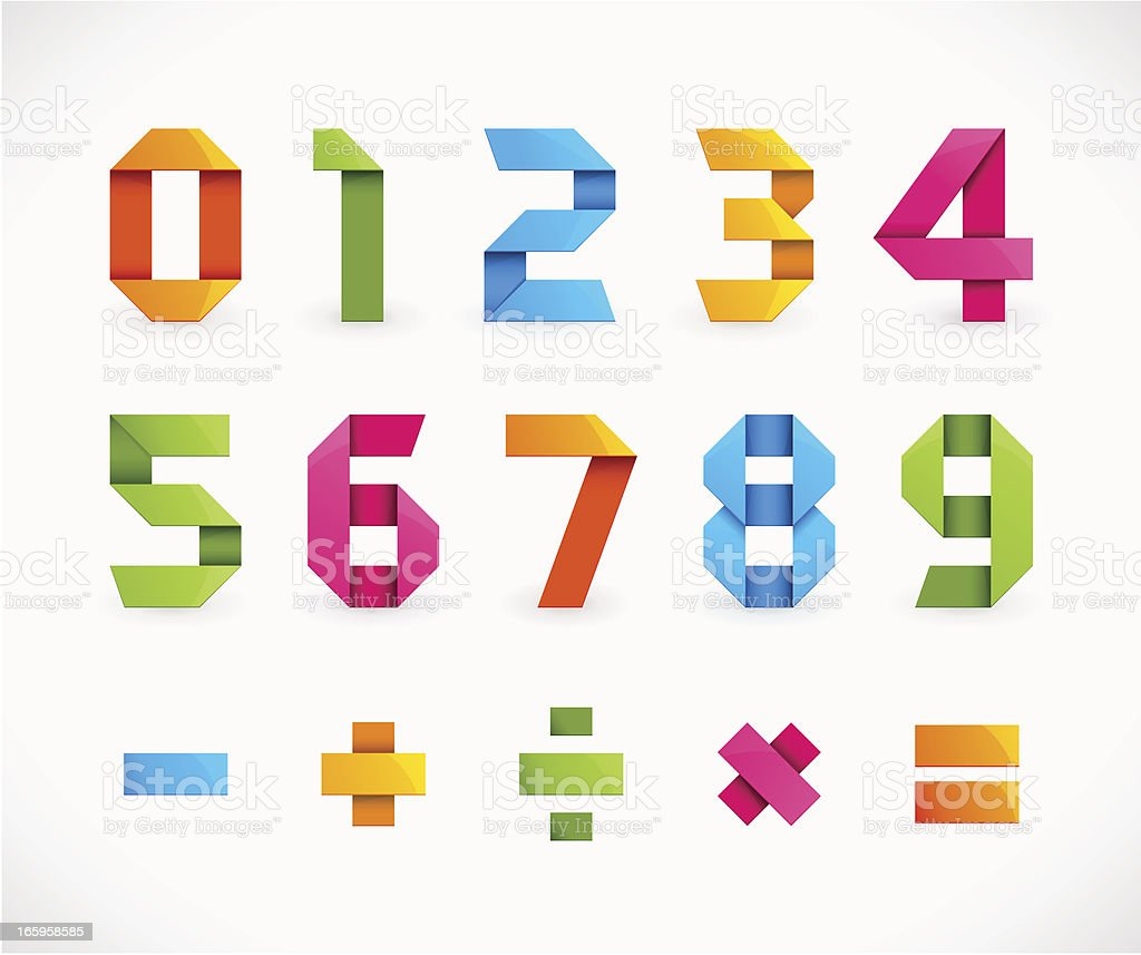 Origami Numbers vector art illustration