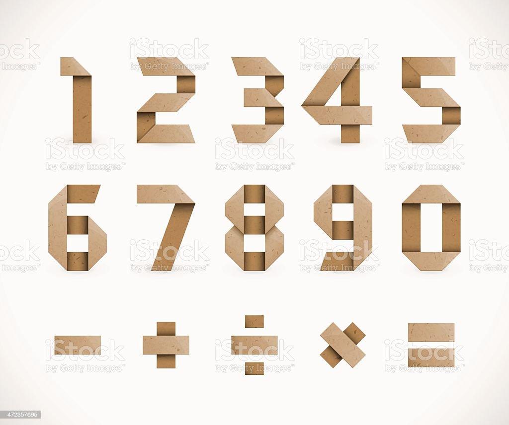 Origami Numbers vector art illustration