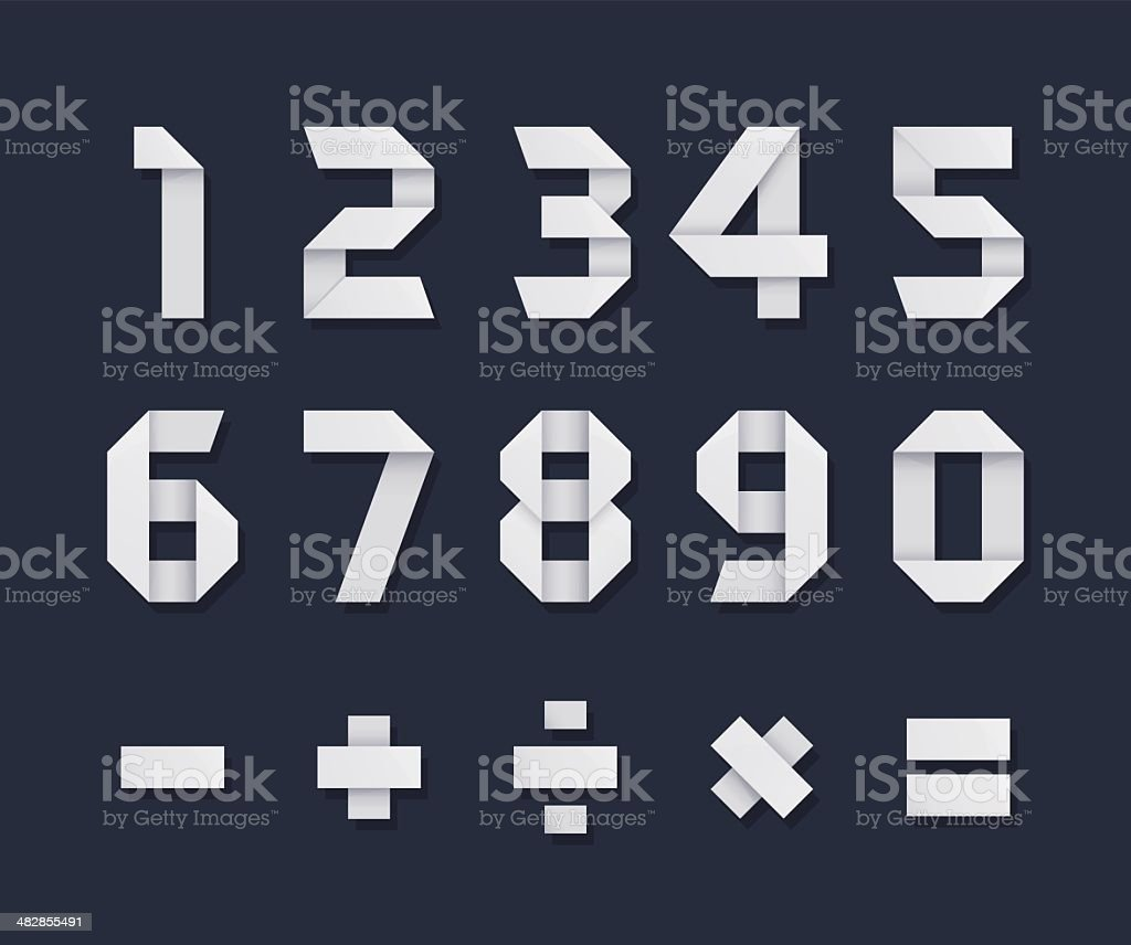 Origami Numbers royalty-free origami numbers stock vector art & more images of art