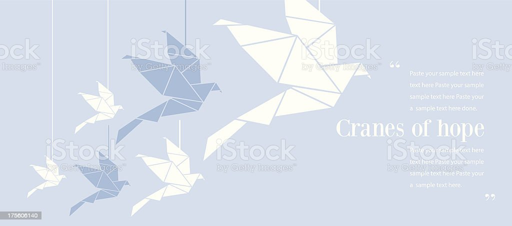 Origami of cranes and how they represent hope vector art illustration