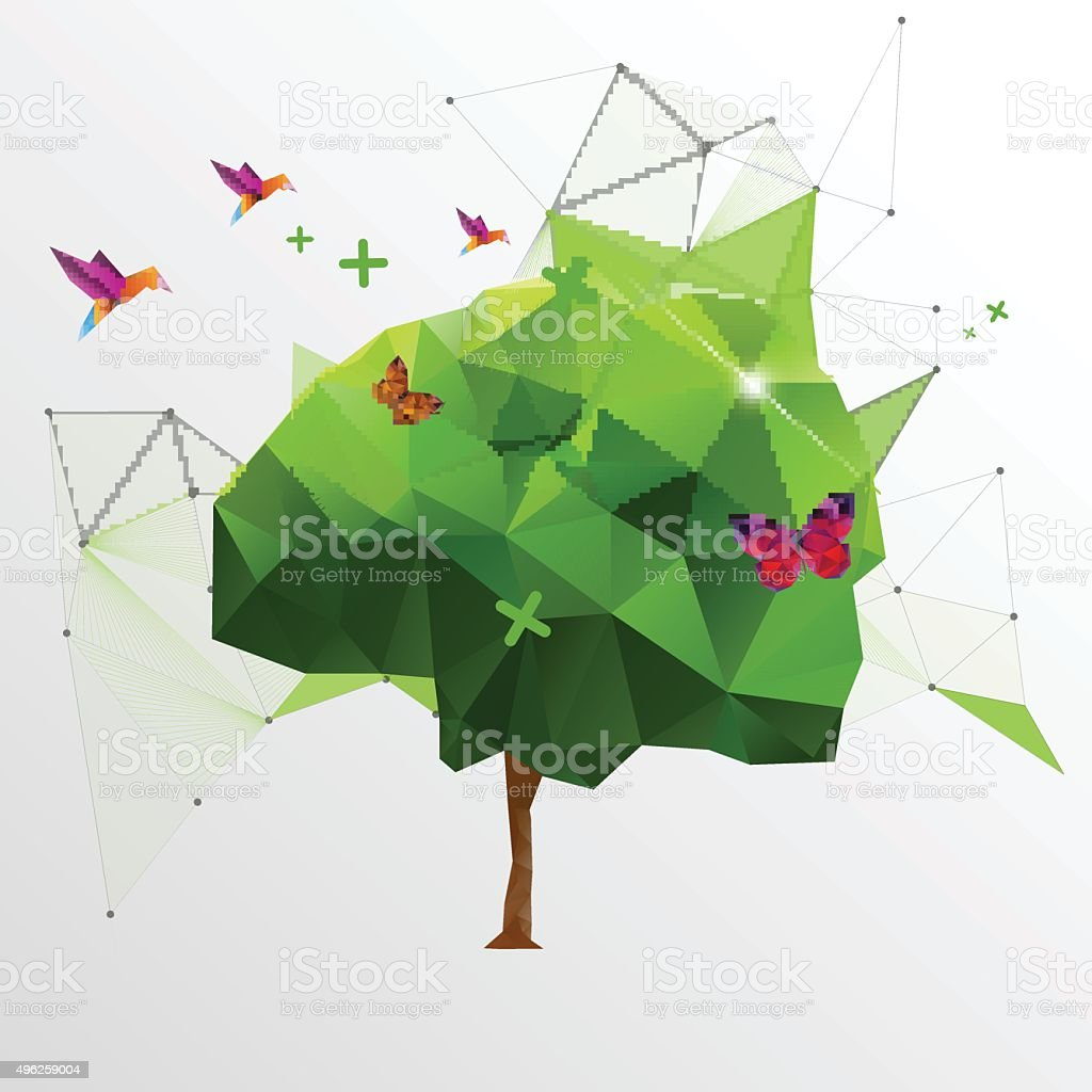 Origami Or Polygon Tree Eco Design Royalty Free