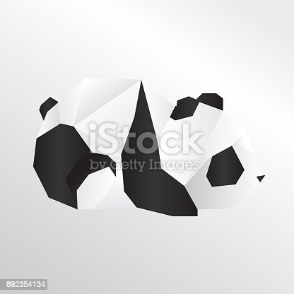 Origami Panda Stock Vector Art More Images Of Abstract 892354134