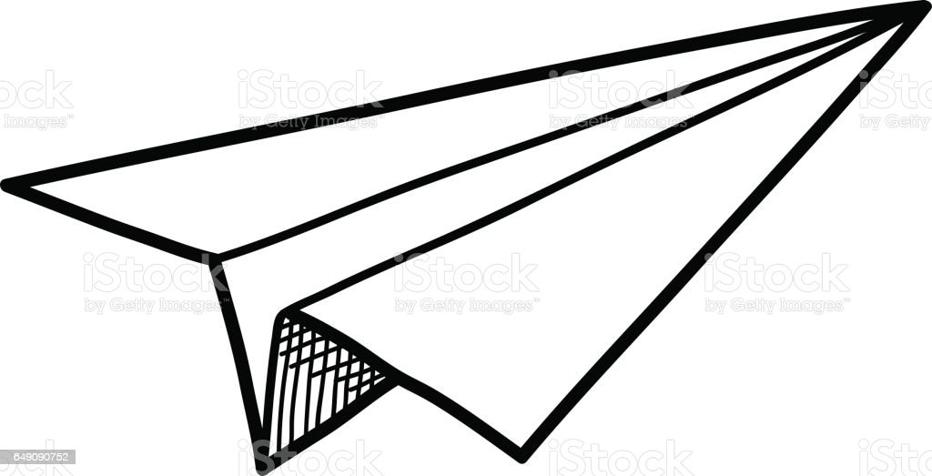 origami paper airplane doodle stock vector art more images of rh istockphoto com