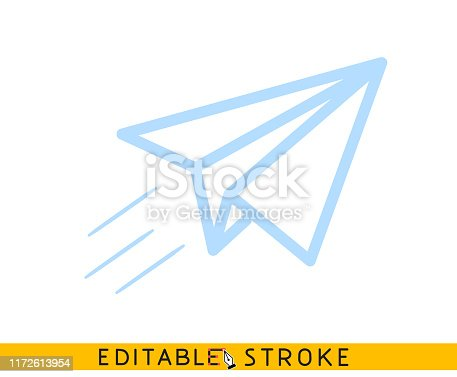 Origami paper airplane icon. Message, letter, mail symbol. Start up and launch. Editable stroke flat line icon. Doodle sketch