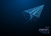 Abstract polygonal light of folded origami paper airplane. Business wireframe mesh spheres from flying debris. Travel, freedom and or business concept. Blue structure style vector illustration.