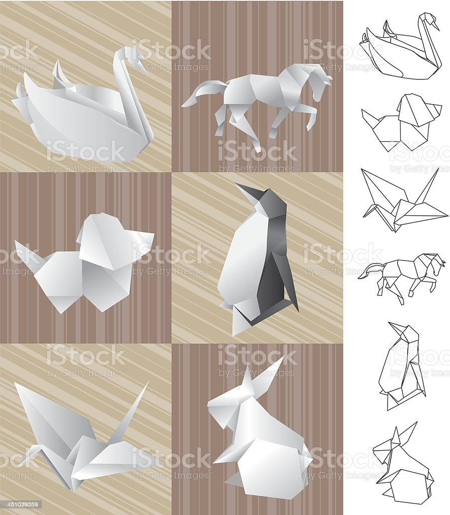 Origami paper animals royalty-free origami paper animals stock vector art & more images of animal