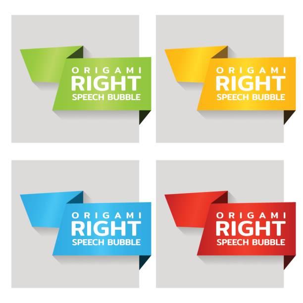 Origami Papier Banner für Seite Tag. Preisschild-Vorlage für Katalog. Farbe Aufkleber für Shop. Vektor – Vektorgrafik